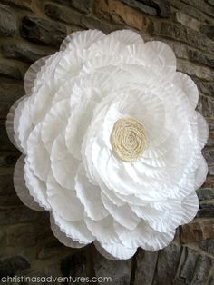 GIANT coffee filter flower tutorial- the base is a hula hoop! Perfect for showers & party decor