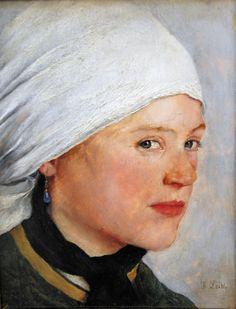 Wilhelm Leibl - Bauernmädchen mit weißem Kopftuch