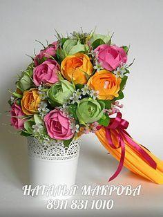 Gallery.ru / Фото #152 - РУЧНОЙ БУКЕТ - ampeloshka Faux Flowers, Paper Flowers, Crepe Paper, Flower Crafts, Paper Art, Planter Pots, Bouquet, Vase, Sweet