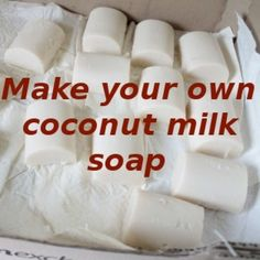 Coconut-Milk Soap Recipe ___Recipe for easy-to-make coconut milk soap. This recipe will produce a soothing, healing and moisturising soap ideal for sensitive skins. Can be used to wash hair also. Vegetarian and vegan friendly. Make Coconut Milk, Coconut Soap, Shredded Coconut, Savon Soap, Lye Soap, Do It Yourself Inspiration, Style Inspiration, Homemade Soap Recipes, Castile Soap Recipes