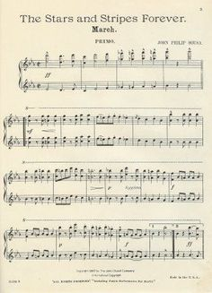 Free Printable ~ Vintage Stars and Stripes Forever. Think this would look great framed. Everyone should have a copy - enjoyed hearing it lots on the Love the piccolo trio . used to play throughout college, Lori Holt I Love America, God Bless America, Yankee Doodle Dandy, Partition Piano, Images Vintage, Home Of The Brave, Let Freedom Ring, Vintage Sheet Music, Old Glory