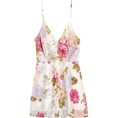 Floral Backless Spaghetti Straps Dress (1.320.410 IDR) ❤ liked on Polyvore featuring dresses, floral dress, backless dress, pink dress, botanical dress and floral print dress