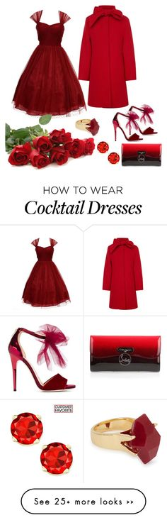 """Untitled #164"" by liakmaria on Polyvore featuring Jimmy Choo, Unique Vintage, Christian Louboutin, Oscar de la Renta and Lola Rose"