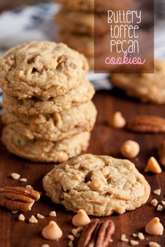 There's a lot of flavour in these Buttery Toffee Pecan Cookies – buttery toffee bits and butterscotch and butter-rum flavouring, plus crunchy pecans.