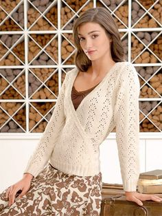 lacy wrap sweater Design by Bobbi Intveld A pretty lace pattern and wrap design create a sweater that flatters any silhouette. Knit with Skinny Cotton from Blue Sky Alpacas, a 100% organic cotton yarn.