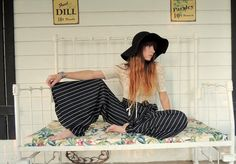 Drapey Wide Leg Pants in Black and White Stripes, Palazzo Pant, Retro Pants, 1970's