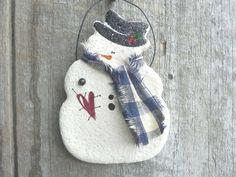 Schneemann Salzteig Ornament / Xmas von cookiedoughcreations