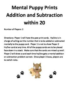 Mentally Adding and Subtracting within 20Perfect for grade K, 1, and 2