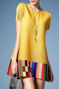 Elegant Short Sleeve Round Collar Loose-Fitting Colorful Stripe Dress For Women Simple Dresses, Casual Dresses, Fashion Dresses, Summer Dresses, Formal Dresses Online, Quirky Fashion, Linen Dresses, Wholesale Clothing, Chic Outfits