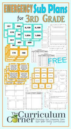 Third Grade Emergency Sub Plans for 1st Grade FREE from The Curriculum Corner | math, reading, writing,