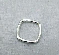 16g square piercing hoop septum ring nose by waterleliejewellery