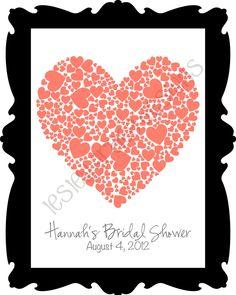 Typography, Bridal Shower Guest Book, digital print, 11x14. $20.00, via Etsy.