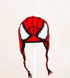 Spiderman Earflap Hat, Red and Black Crochet Beanie, - could so do this - no pattern