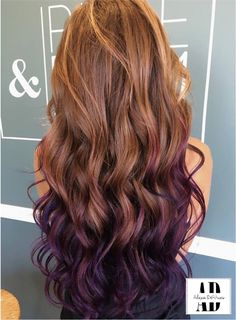 beautifully curled purple and brown hair, balayaged through ends to blend