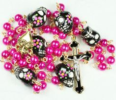 Muertos Skull Rosary in Gold with Sugar Skulls and Pink Glass Pearls