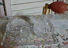 Oh so CHIC and Very ELEGANT - Vintage Princess House Crystal Vanity set - 4 pieces -   1980 Era - Made in Germany by InfinityCrafts on Etsy