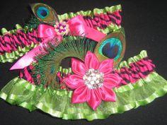 Bridal or Prom Garter Set in Pink Zebra and by NakedOrchidGarters, $58.00