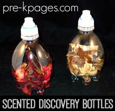 Science Scented Discovery Bottles Easy & Cheap DIY Science Scent Bottles for Science Center in Preschool or Kindergarten Senses Preschool, Kindergarten Science, Science Classroom, Teaching Science, Preschool Ideas, Preschool Teachers, Classroom Ideas, Science Area, Science Experiments Kids