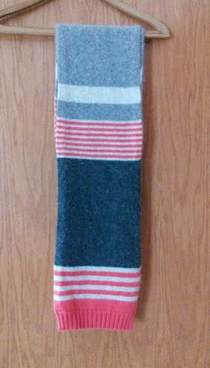 Women's Striped Wool Blend Boden Scarf Long Gray Coral Cozy Winter Fall #boden #Scarf