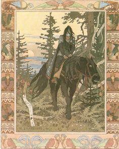 Jinete Negro o Noche (Cuento Vasalisa la Bella, ilustracion de Ivan Biblin)