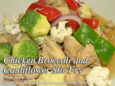 A simple quick cooking chicken and vegetable dish, chicken broccoli and cauliflower stir fry. The cooking method involves two separate steps. Cooking the Cauliflower Stir Fry, Chicken Cauliflower, Cauliflower Recipes, Baked Chicken, Chicken Recipes, Meat Recipes, Vegetable Stir Fry, Vegetable Dishes, Vegetable Recipes