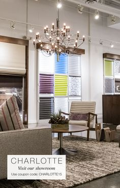 Enjoy 15% off in showroom orders on custom shades, blinds, and drapes with coupon code CHARLOTTE15 when you visit our Charlotte showroom. Offer valid for orders placed in September. | The Shade Store