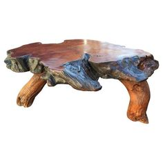 Image Of Vintage Live Edge Redwood Slab Coffee Table