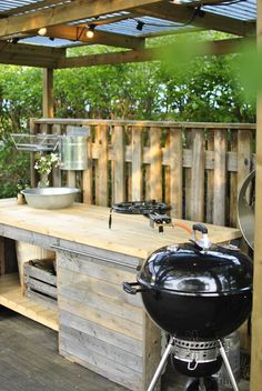 outdoor kitchen with ceiling grills When early around strategy, your pergola has been Outdoor Bbq Kitchen, Outdoor Sinks, Outdoor Sauna, Patio Kitchen, Summer Kitchen, Outdoor Kitchen Design, Outdoor Cooking, Outdoor Decor, Pergola Designs