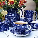 Blue Calico ~ Burleigh's famous deep cobalt blue pattern has been made continuously in our factory for over 40 years. Its popularity continues as ever! (found here: http://www.burleigh.co.uk/burleigh-giftware-products.php?tls=15=92_id=92=best+quality=16)