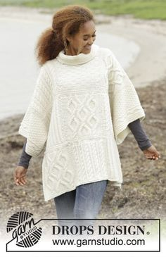 Comfort Chronicles poncho by DROPS Design. Free #knitting pattern