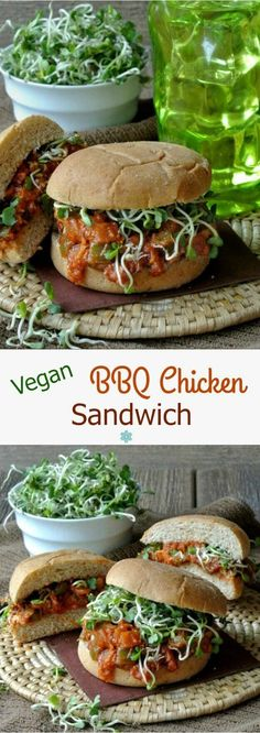 Vegan BBQ Chicken Sandwich is easily made from scratch. Tangy barbeque sauce is a flavor that one can't forget so go ahead and enjoy. ~ https://veganinthefreezer.com