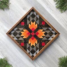 Barn Quilt Designs, Barn Quilt Patterns, Block Patterns, Large Wood Wall Art, Wood Art, Bear Paw Quilt, Painted Barn Quilts, Wooden Barn, Modern Rustic Decor