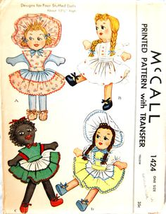Vintage 1948 McCall Stuffed Doll Pattern 1424