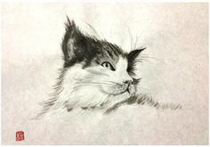 猫 【水墨画】