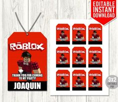 Roblox Thank You Tags, Roblox Favor Tags, Roblox Party Favors, Roblox Birthday Party, Roblox Printab Birthday Drinks, 9th Birthday Parties, Birthday Favors, Birthday Ideas, 8th Birthday, Drink Labels, Bottle Labels, Party Invitations, Party Favors