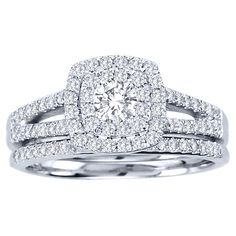 <li>Diamond bridal ring set</li><li>10-karat white gold jewelry</li><li><a href='http://www.overstock.com/downloads/pdf/2010_RingSizing.pdf'><span class='links'>Click here for ring sizing guide</span></a></li>