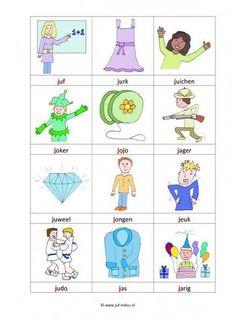 Taal - J woordkaartjes kl School Posters, Letter J, Primary School, Worksheets, Coloring Pages, Logos, Kids, Printables, Study