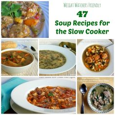 47 Weight Watchers Friendly Slow Cooker Soup Recipes with calorie and Points Plus details. #WeightWatchers #CrockPot http://simple-nourished-living.com/2014/02/weight-watchers-friendly-soup-recipes-giveaway/