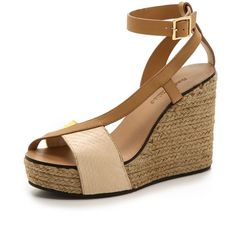 See By Chloe Cross Strap Espadrille Wedge Sandals - Natural/Yellow