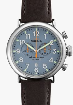 be740f73c Shinola The Runwell Chronograph Brown Leather Strap Blue Dial Watch |  Shinola® Detroit Watches Online