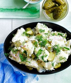 Old-school German-style crushed potato salad with dill pickles recipe   Potato salad recipe - Gourmet Traveller