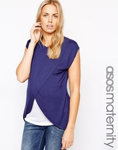 Enlarge ASOS Maternity NURSING T-Shirt With Wrap Overlay
