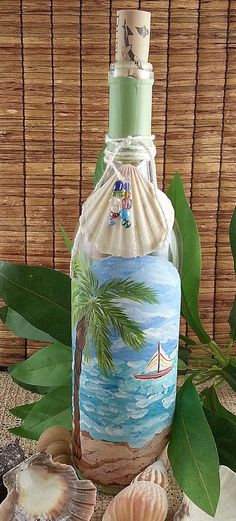 Hand Painted Decorative Coastal Beach Palm Tree by WFosterDesign, $20.00