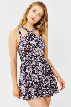 Ecote Sadie Strappy Romper - Urban Outfitters