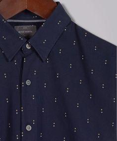 Navy Hanovia Double Dot Printed Oxford Shirt