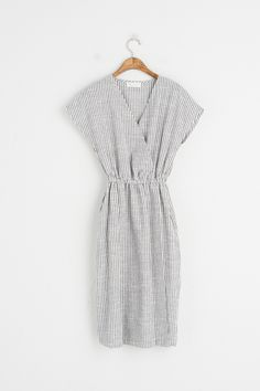 Linen Stripe V Neck Dress, Navy, 100% Linen
