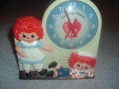 Rare Original 1974 French Raggedy Ann Andy Talking Alarm Clock,Tics/Talks French #Janex #Cartoon