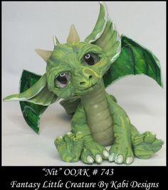 Fantasy Little Dragon DollHouse Art Doll Polymer Clay CDHM OOAK IADR Nit Mini #KabiDesigns