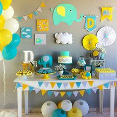 Best selection of DIY party supplies for kids and adults. Party planning profess… Best selection of DIY party supplies for. Deco Elephant, Elephant Party, Elephant Theme, Elephant Baby Showers, Cadeau Baby Shower, Idee Baby Shower, Baby Boy Shower, Baby Party, Baby Shower Parties