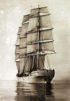 Tall Ships and Maritime History - Sailing Ship Mersey 1894 - Moby Dick, Old Sailing Ships, Merchant Navy, Sail Away, Set Sail, Wooden Boats, Tall Ships, Ship Art, Model Ships